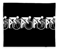 Fleece Blanket featuring the digital art The Bicycle Race 2 Black by Brian Carson