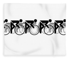 Fleece Blanket featuring the digital art The Bicycle Race 2 White by Brian Carson