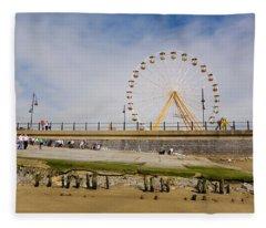 The Big Wheel And Promenade, Tramore Fleece Blanket