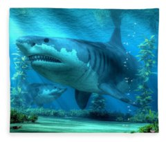 The Biggest Shark Fleece Blanket