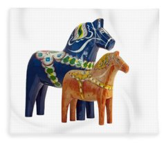 The Blue And Red Dala Horse Fleece Blanket