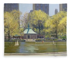 The Boating Lake, Central Park, New York, 1997 Oil On Canvas Fleece Blanket