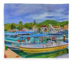The Boats Of Hautulco Fleece Blanket