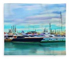 The Boats Of Malaga Spain Fleece Blanket