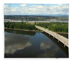 Oregon Bridge From Above Fleece Blanket