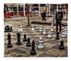 The Chess Match In Portland Fleece Blanket