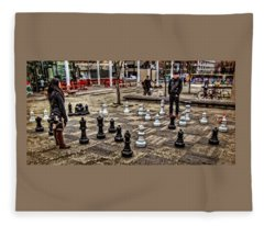 The Chess Match In Portland Fleece Blanket