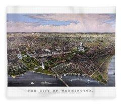 The City Of Washington Birds Eye View Fleece Blanket