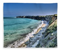 The Cliffs Of Pointe Du Hoc Fleece Blanket