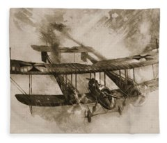 German Biplane From The First World War Fleece Blanket