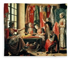 The Couturiers Workshop, Arles, 1760 Oil On Canvas Fleece Blanket