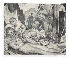 The Death Of Beowulf Fleece Blanket