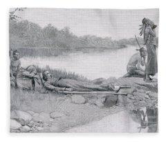 The Death Of Indian Chief Alexander Fleece Blanket