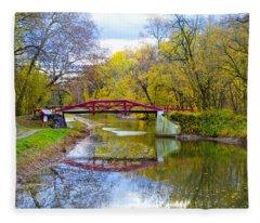 The Delaware Canal Near New Hope Pa In Autumn Fleece Blanket