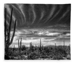 The Desert In Black And White Fleece Blanket