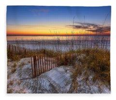 The Dunes At Sunset Fleece Blanket