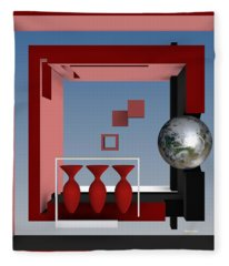 The Earth And Three Red Vases Fleece Blanket