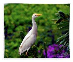 The Egret Outside My Window Fleece Blanket