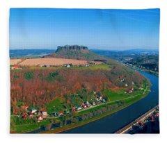 The Elbe Around The Lilienstein Fleece Blanket