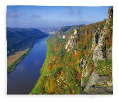 The Elbe Sandstone Mountains Along The Elbe River Fleece Blanket