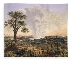 The Falls By Sunrise With The Spray Fleece Blanket