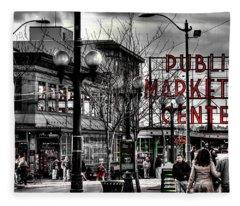 The Famous Pike Place Market - Seattle Washington Fleece Blanket