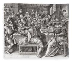 The Feast, After A 17th Century Engraving By N. De Bruyn.  From Illustrierte Sittengeschichte Vom Fleece Blanket