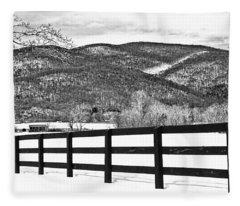 The Fenceline B W Fleece Blanket
