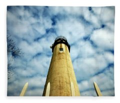 The Fenwick Light And A Mackerel Sky Fleece Blanket