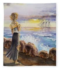 The Girl And The Ocean Fleece Blanket