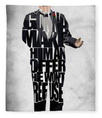 The Godfather Inspired Don Vito Corleone Typography Artwork Fleece Blanket