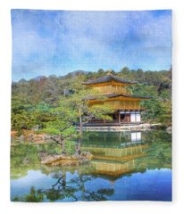 The Golden Pavilion Fleece Blanket