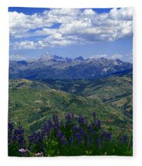 The Grand And Lupines Fleece Blanket