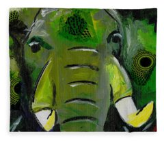 The Green Elephant In The Room Fleece Blanket