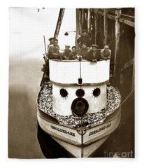 The Happy Crew Of The Fishing Boat  Geraldine- Ann Monterey California 1939 Fleece Blanket