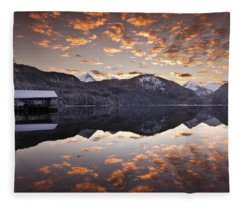 The Hut By The Lake Fleece Blanket