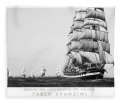 The Kruzenshtern Departing The Port Of Cadiz Fleece Blanket