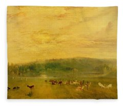The Lake, Petworth Sunset, Fighting Bucks, C.1829 Fleece Blanket