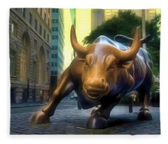 The Landmark Charging Bull In Lower Manhattan 2 Fleece Blanket