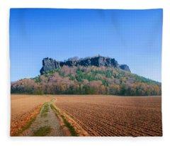 The Lilienstein On An Autumn Morning Fleece Blanket