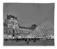 The Louvre Black And White Fleece Blanket