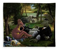 The Luncheon On The Grass With Dinosaurs Fleece Blanket
