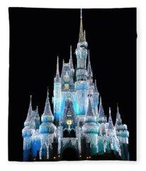 The Magic Kingdom Castle In Frosty Light Blue Walt Disney World Fleece Blanket