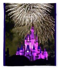 The Magic Kingdom Castle In Violet With Fireworks Walt Disney World Fl Fleece Blanket