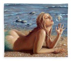 The Mermaids Friend Fleece Blanket
