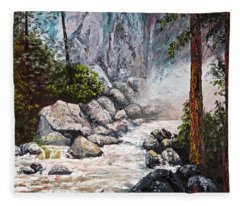 Fleece Blanket featuring the painting The Mist At Bridalveil Falls by Darice Machel McGuire