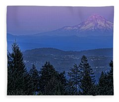 The Moon Beside Mt. Hood Fleece Blanket
