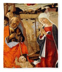 The Nativity With The Annunciation To The Shepherds In The Distance Fleece Blanket