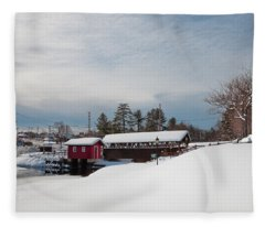 The Old Forge Covered Bridge Fleece Blanket