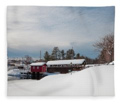 The Old Forge Covered Bridge Fleece Blanket